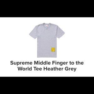 Supreme middle finger grey shirt